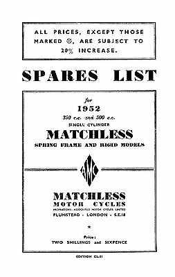 1952 Matchless Single cylinder models parts book