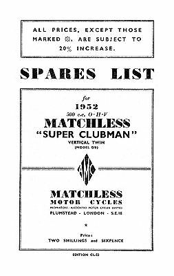 1952 Matchless twin cylinder models parts book