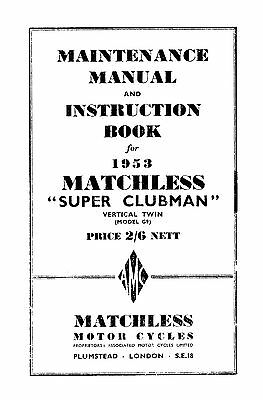 1953 Matchless Twin cylinder models maintenance manual