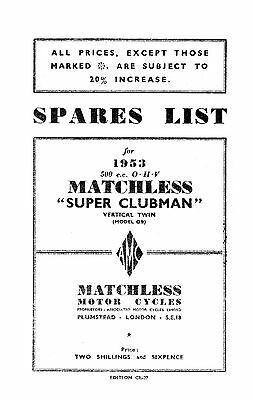 1953 Matchless twin cylinder models parts book