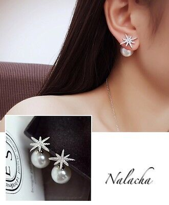 Fashion Jewelry 925 Sterling Silver Snowflake BIG Pearl Stud Pin Earrings