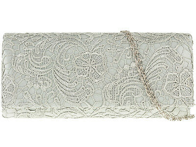 Brand New Silver Ladies Lace Floral Satin Evening Bags Party Prom Wedding 09222