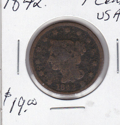 1842 United States 1 penny