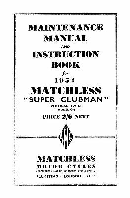 1954 Matchless Twin cylinder models maintenance manual