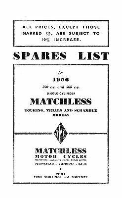 1956 Matchless Single cylinder models parts book