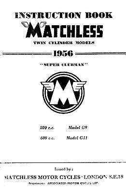 1956 Matchless Twin cylinder models maintenance manual