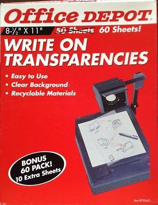 """NEW NIB OFFICE DEPOT Write on Transparencies UNOPENED 8 1/2"""" x 11"""" 60 Sheets"""