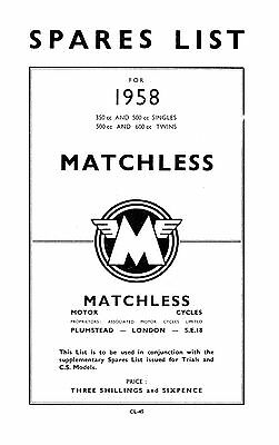 1958 Matchless singles & twins parts book