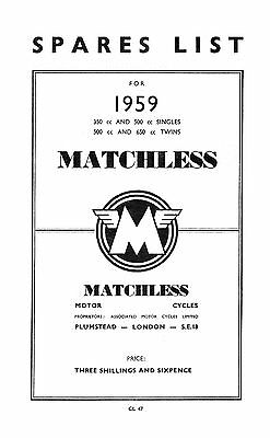 1959 Matchless singles & twins parts book