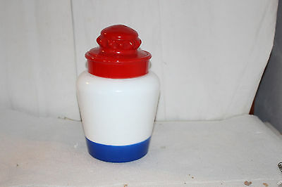 Vintage Red White and Blue Patriotic Canister Glass Jar