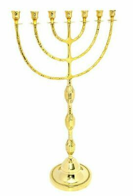 "Authentic brass copper 30"" XXL Menorah vintage candle holder Judaica Israel"