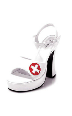 Adult Womens Naughty Nurse White High Heel Shoes Fancy Dress Halloween Costume