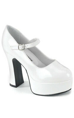 Adult Womens Sexy White High Heel Shoes Fancy Dress Halloween Costume