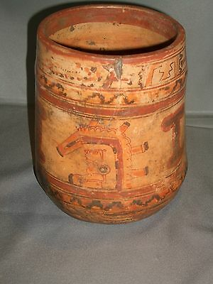Large Mayan Cylinder Vessel Mexican Aztec Toltec Genuine 600-900 A.D.