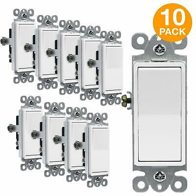 10PK Decorator 15A Rocker Switch Single Pole Light Controller White