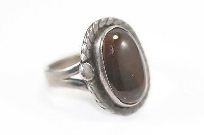 "B961 Amber Sterling 925 Ring top 3/4""L size 7"