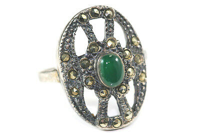 B964 Jade Marcasite Sterling 4.5g 925 ring size 7 1/4