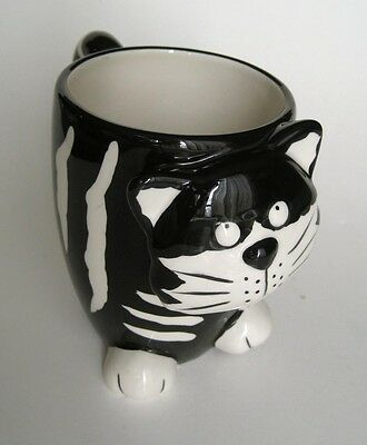 2008 burton+ BURTON Chester Cat Figural Novelty Coffee Mug Black White Stripes