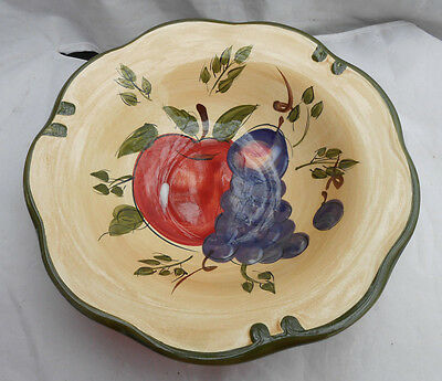 "Home Trends Granada Soup Cereal Bowls 8"" Fruit Apple Pear Grapes Plum 4"
