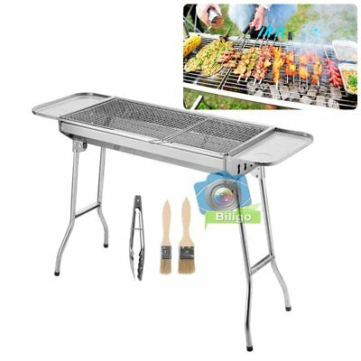 Folding BBQ Charcoal Barbecue Grill Garden Picnic Cooking Stainless Steel【UK】