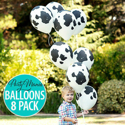 Cow Print Farm Western Birthday Party Supplies Latex Balloons Pack Of 12