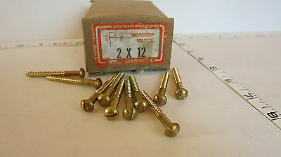 """#12 x 2"""" Brass Wood Screw Round Head Slotted Lot of 10 New Old Stock"""