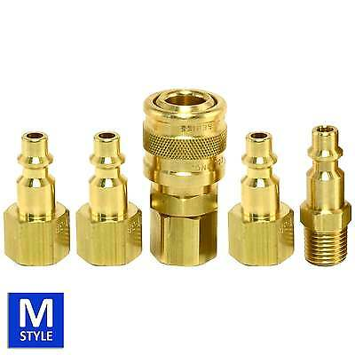 "5pc 1/4"" Female NPT FPT Brass Quick Coupler Set Air Hose Connector Fittings Plug"