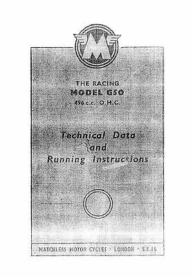 1962 Matchless Racing G50 technical data