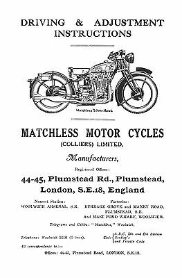 Matchless Silver Hawk driving & adjustment instructions