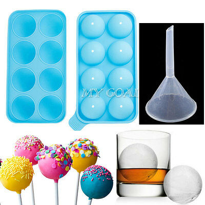 Round Ice Balls Maker Tray 8 Sphere Molds Cube Whiskey Cocktails Lollipop Mould