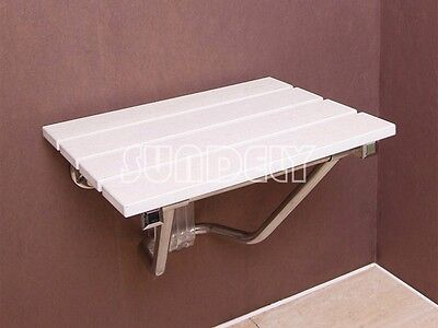Luxury Folding Wall Mounted Shower Seat Wooden Chair Foldaway Disabled Mobility