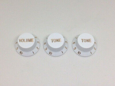3 x White Strat Electric Guitar Control Knobs Volume & Tone Fits Metric Pots