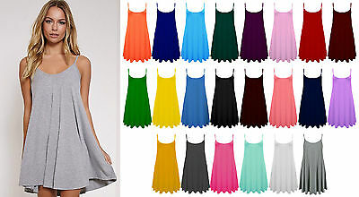Womens Sleeveless Cami Swing Dress Floaty Flared Strappy Skater Long Top UK 8-28