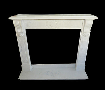 Cornice Caminetto Camino Marmo Bianco Classico Old Fireplace Marble Frame L130cm