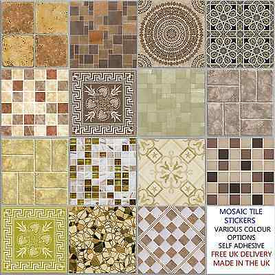 Cream Mosaic Tile Stickers Transfers Kitchen Bathroom 6 inch - Various Designs