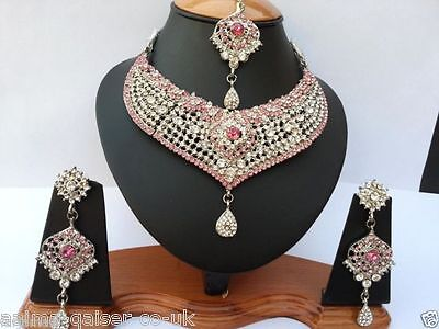 Indian Jewellery Set Pink Clear Stones Silver Plated New - Aq/192