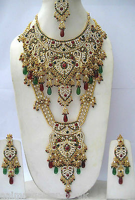 Indian Bridal 8 Piece Jewellery Set Multi Stones Gold Plated  New Aq-193