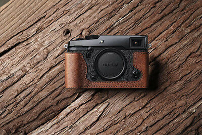Genuine Real Leather Half Camera Case Bag Cover for FUJIFILM X-PRO2 Brown Color