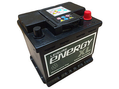 12V 44AH Leisure / Marine Battery Low Height / Low Profile - Energy XL E44ah