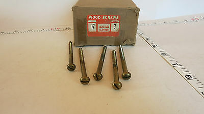 "#12 x 3"" Brass Wood Screw Round Head Slotted Lot of 5 New Old Stock"