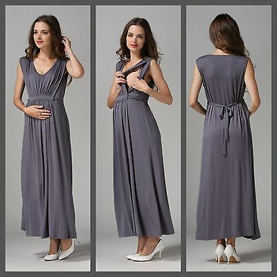 Sale! New Grey Maternity Breastfeeding Nursing Maxi Dress Size S M L 8 10 12 14