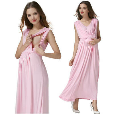 Sale! New Pink Maternity Breastfeeding Nursing Maxi Dress Size S M L 8 10 12 14