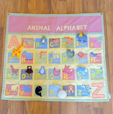 Pottery Barn Kids Red ABC Animal Alphabet Gingham Toy Quilt Mat Wall Hanging