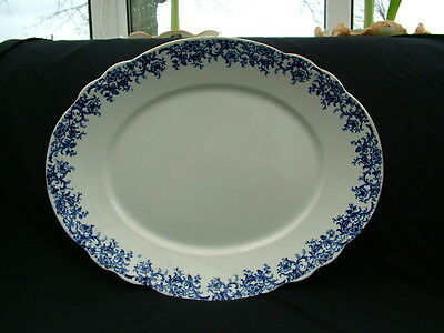 Victorian very large Meredith blue and white meat platter Maddock & Sons