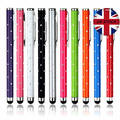 3 x HIGH QUALITY CRYSTAL EFFECT STYLUS PEN FOR iPHONE iPAD ANDROID TABLET PC