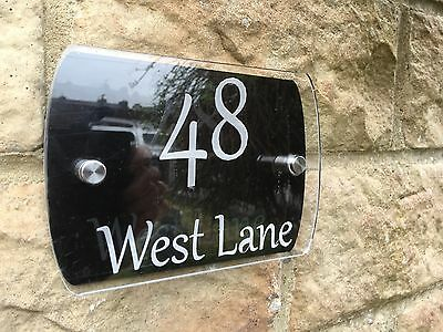 Modern House Sign Plaque Door Number Black Acrylic  Glass Effect Name Wall Flat