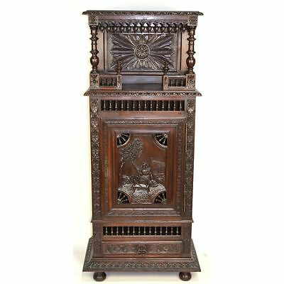 Antique French Carved Chestnut Brittany One Door Bonnetiere Bar Cabinet