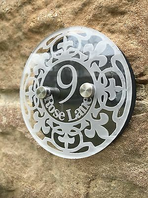 Modern House Sign Plaque Door Number Black Acrylic Clear Glass Effect Round