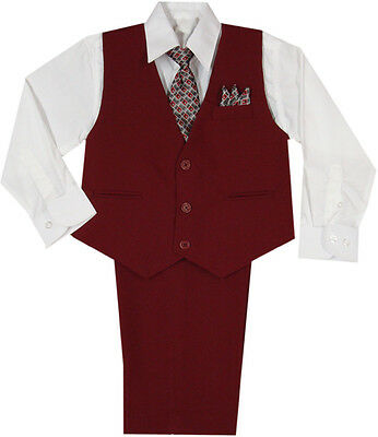 New Baby,Toddler & Boy Wedding Easter Formal Vest Suit Burgundy sz: New Born-4T