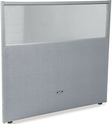 47'' H x 48'' W Poly Panel w/Translucent Tops & Gray Vinyl - Partition Panels